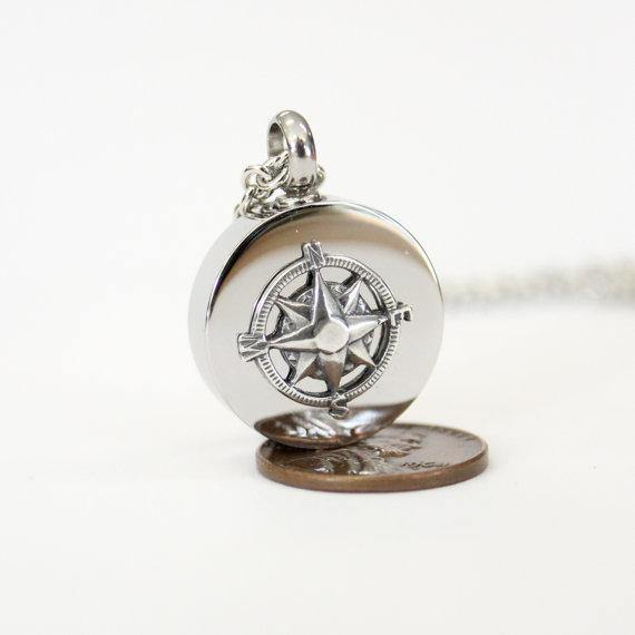 Sterling Silver Compass Rose Cremation Urn - Custom Engraving Available - Moon Raven Designs