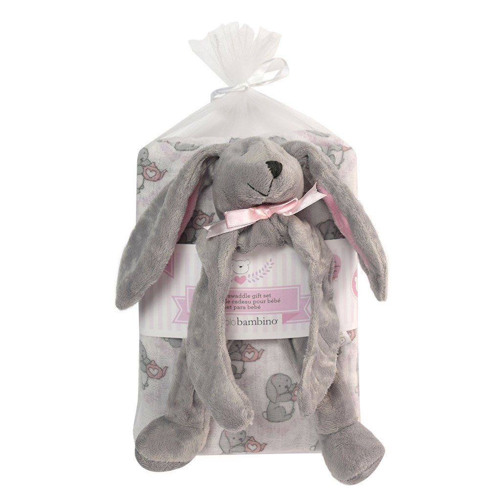 Baby swaddling set with bunny pacifier holder