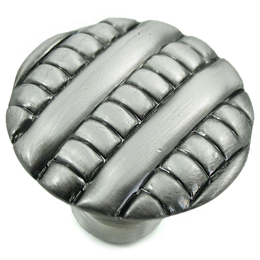 MNG Hardware M-14711 Ribbed Satin Silver Antique Round Knob