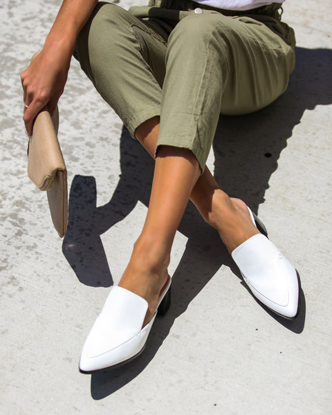 Best In The Biz Pointed Heeled Mule - White - FINAL SALE
