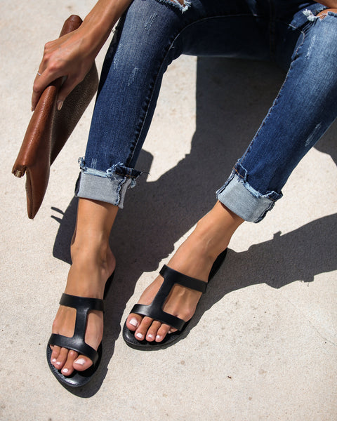 Summer Uniform Cutout Sandals - Black