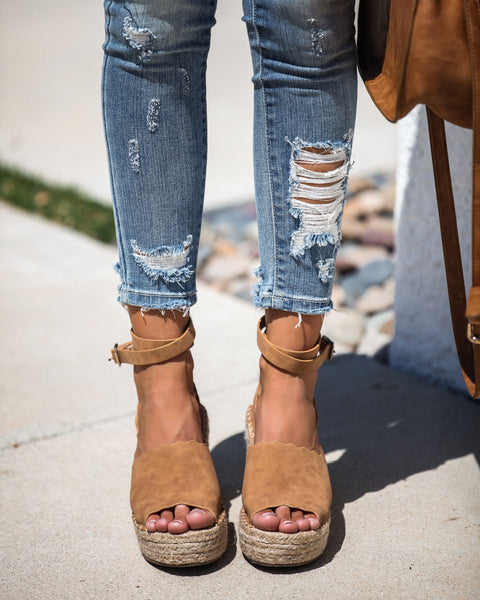 Naomi Ankle Wrap Scalloped Espadrille Wedge