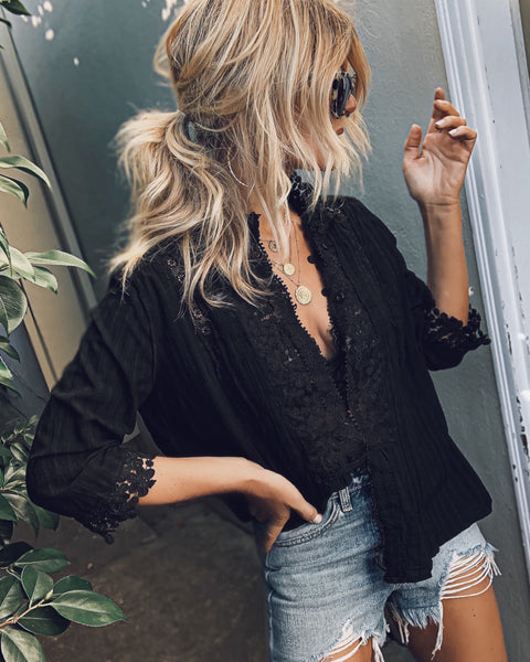 PREORDER - Sweet Mary Crochet Lace Top - Black