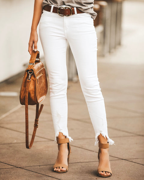 Allison White Frayed Ankle Skinny - FINAL SALE