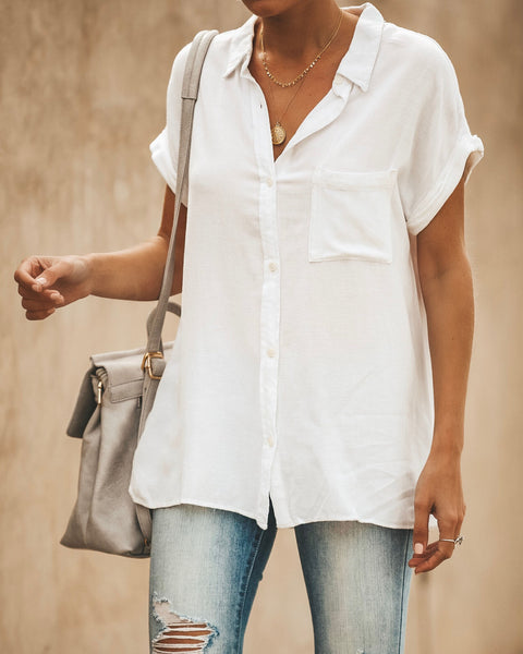 Janelle Button Down Top - Off White - FINAL SALE