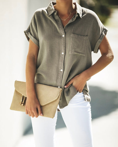 Janelle Button Down Top - Slate Green - FINAL SALE