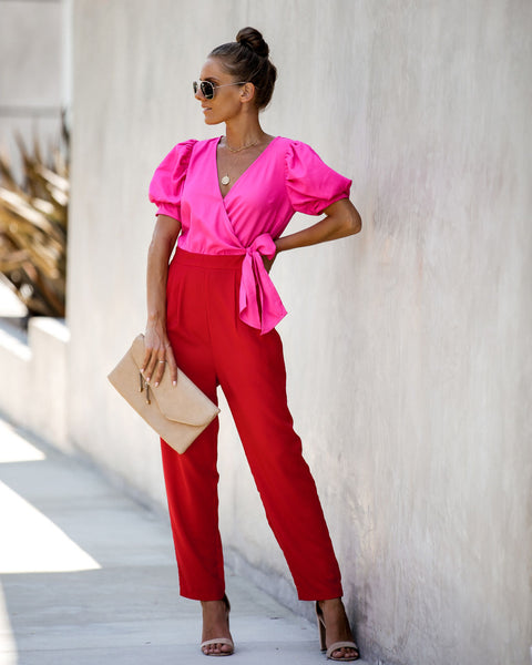 Amor Colorblock Pocketed Puff Sleeve Jumpsuit