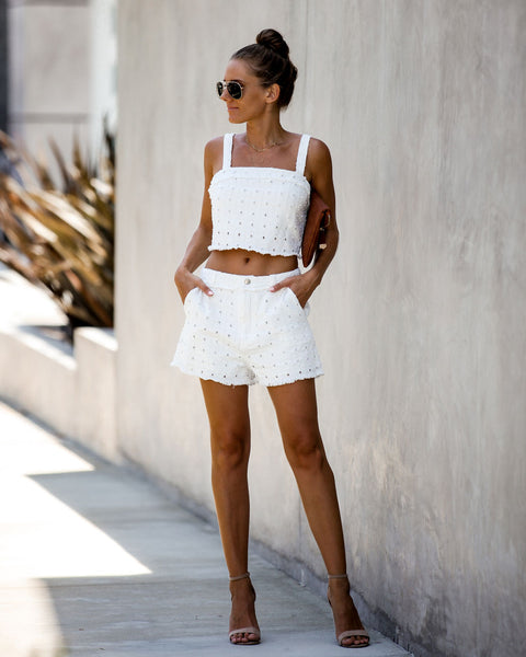 Meet Your Match Textured Crop Top - Off White