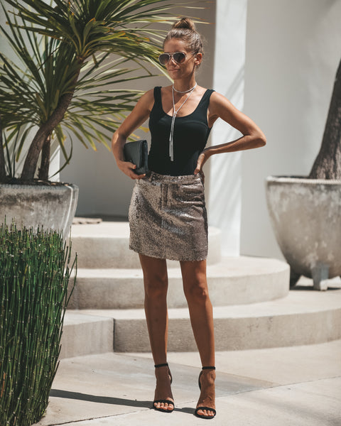 Gleaming Sequined Skirt - Gold - FINAL SALE