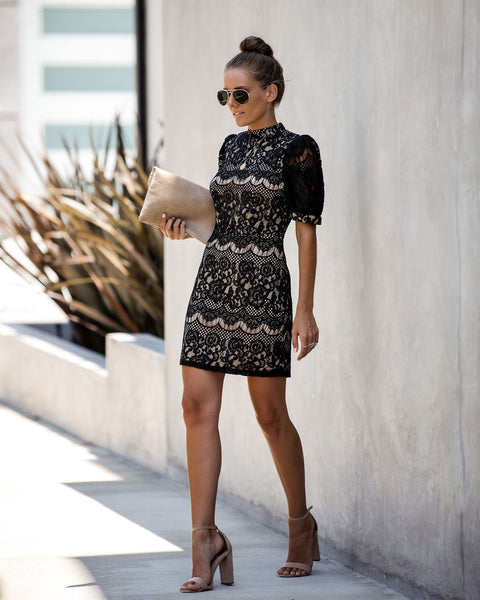 Transform Lace Statement Dress - Black