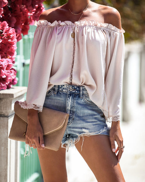 Frills + Lace Off The Shoulder Blouse