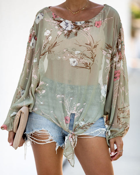 Just A Dreamer Floral Tie Blouse