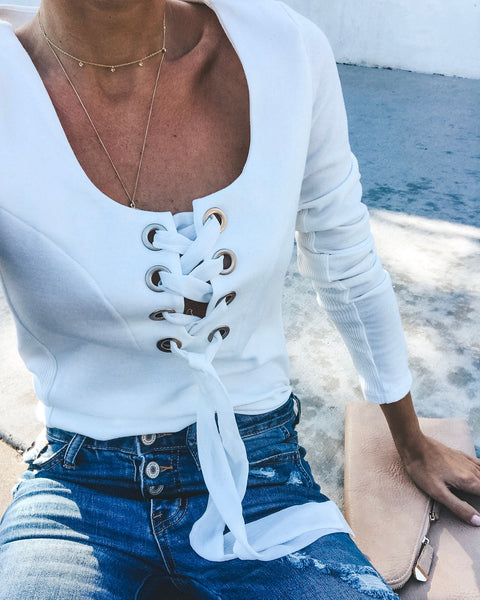 Julieta Cotton Lace Up Top