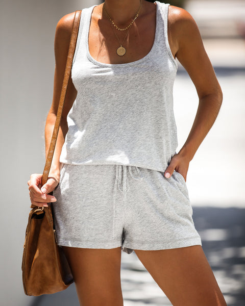 Best Part Pocketed Racerback Jersey Romper - Heather Grey