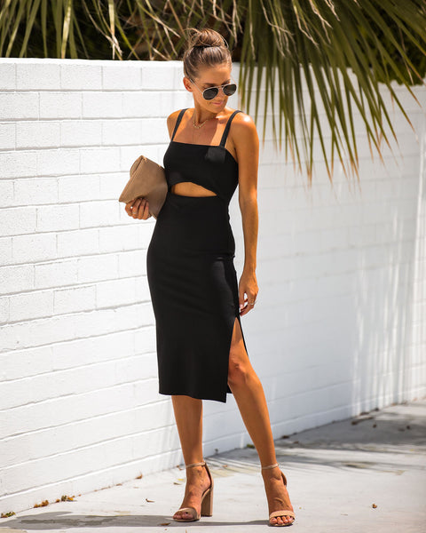 Snip It Bodycon Midi Dress - Black