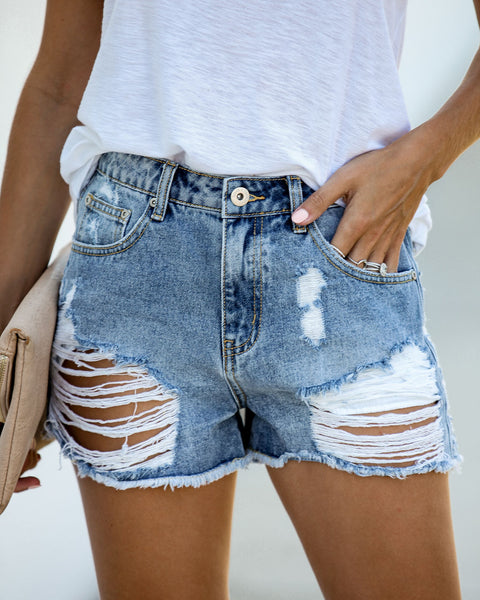 Clubhouse High Rise Distressed Denim Shorts