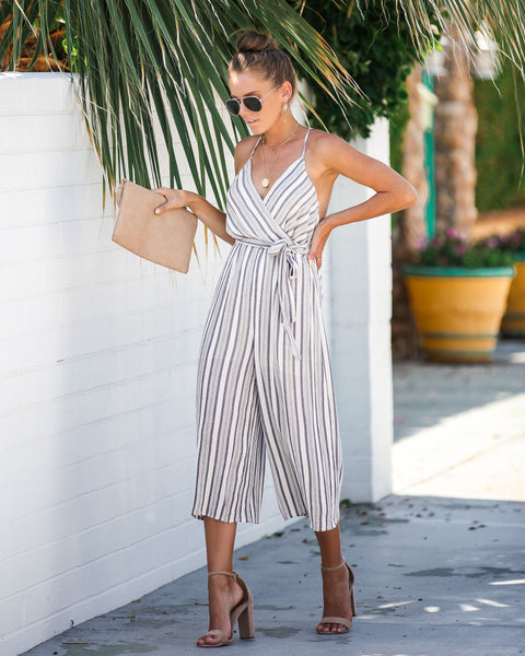Shallow End Striped Tie Jumpsuit