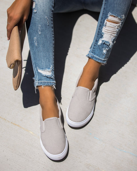 Raven Perforated Slip-On Sneakers