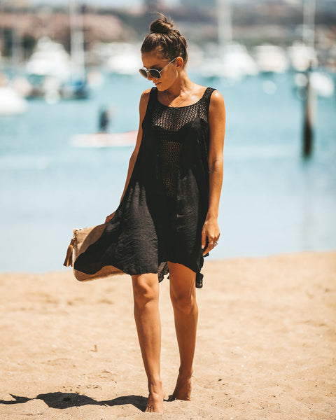 Pool Party Crochet Dress - Black