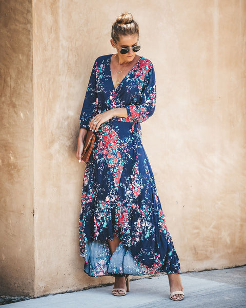 Bunches Of Blooms Wrap Maxi Dress