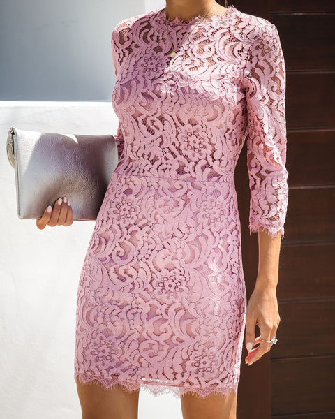 Embark In Style Lace Dress - Rose - FINAL SALE