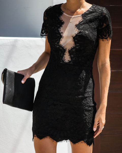 Beyond Words Lace Dress - Black - FINAL SALE