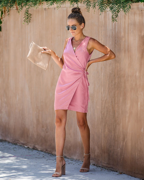 Bottega Satin Sleeveless Wrap Dress