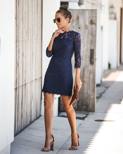 Embark In Style Lace Dress - Navy - FINAL SALE