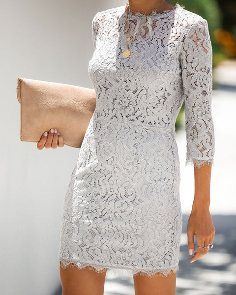 Embark In Style Lace Dress - Soft Grey - FINAL SALE