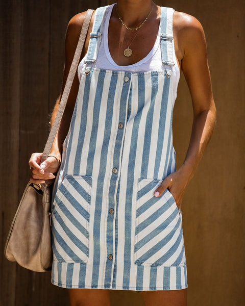 Cavalli Cotton Striped Pocketed Overall Dress