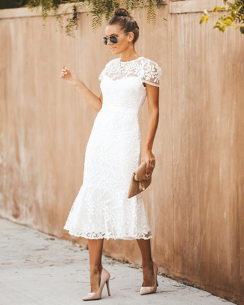 Just The Beginning Lace Midi Dress
