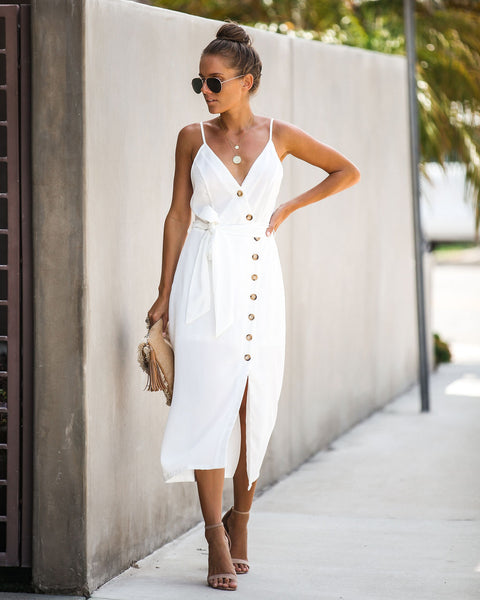 Charmed Life Button Down Midi Dress - Off White - FINAL SALE