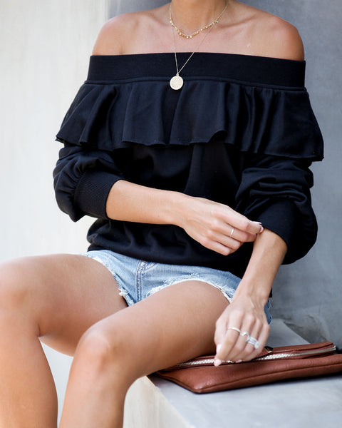 Here + There Off The Shoulder Ruffle Pullover - Black