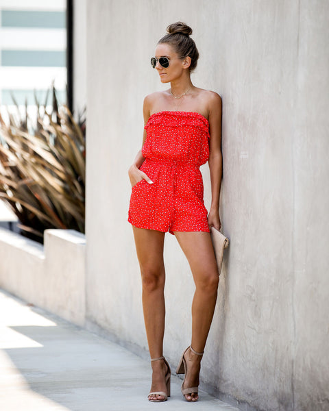 Habanero Strapless Pocketed Ruffle Romper