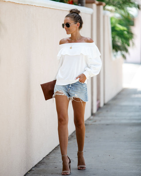 Here + There Off The Shoulder Ruffle Pullover - Off White