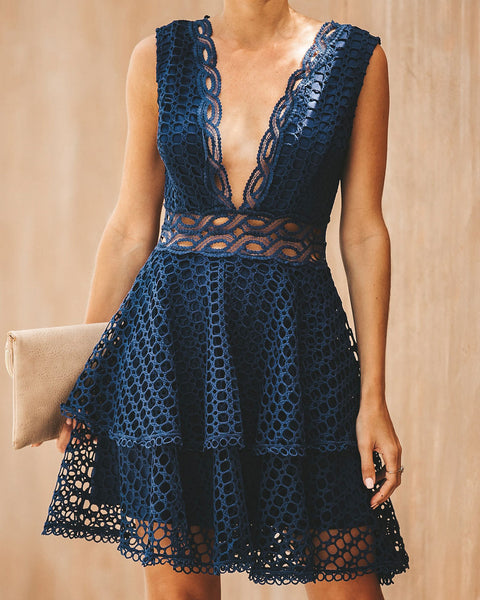 Romantically Yours Crochet Lace Dress - Navy