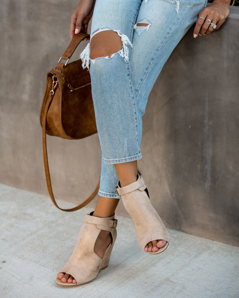 Matisse Faux Suede Peep Toe Wedge - Taupe
