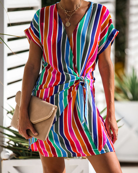 Over The Rainbow Striped Wrap Dress