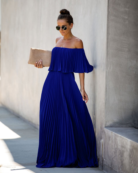 Eternal Love Pleated Maxi Dress - Royal