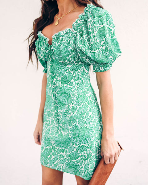 Spring Haze Puff Sleeve Printed Dress - FINAL SALE