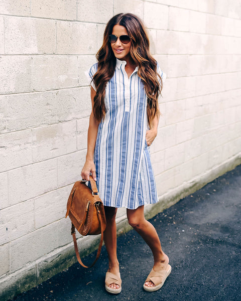Humid Cotton Striped Pocketed Shirt Dress