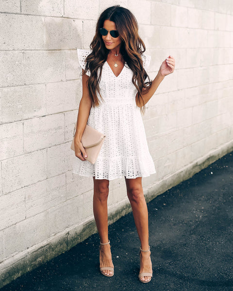 Ultimate Getaway Cotton Eyelet Ruffle Dress