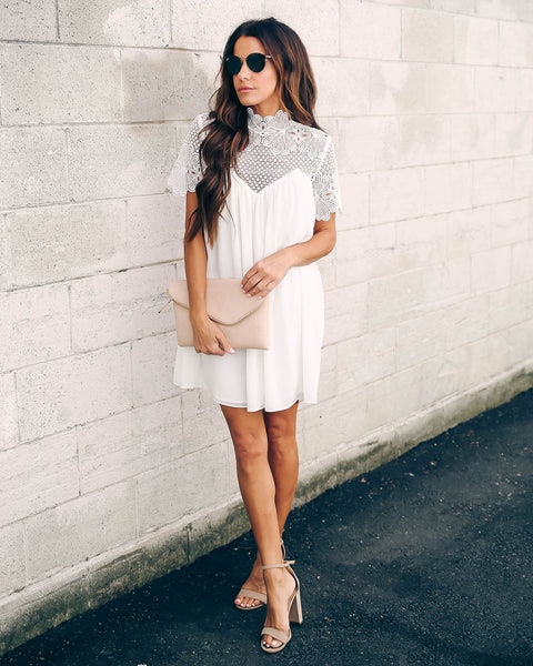 Mocktail Hour Crochet Lace Dress - Off White