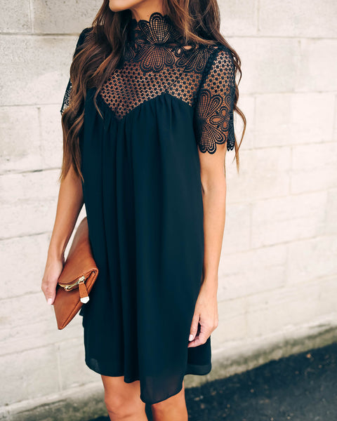 Mocktail Hour Crochet Lace Dress - Black