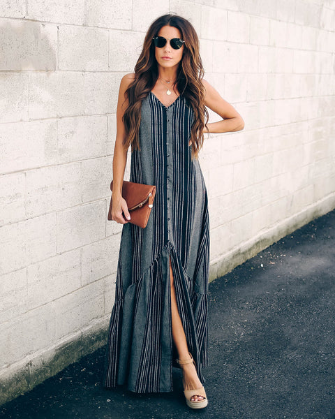 Turntables Cotton Blend Ruffle Maxi Dress