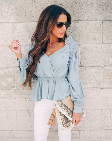 Comes In Waves Smocked Peplum Blouse