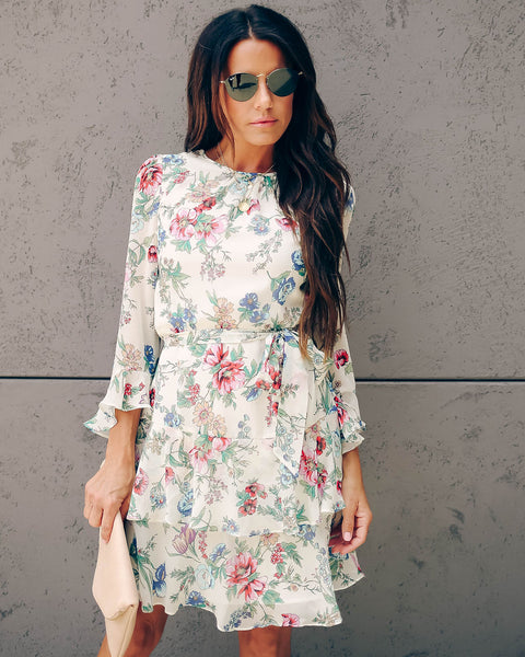 Arrange Floral Ruffle Tie Dress