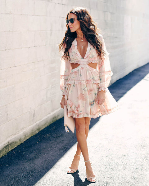 Rose Water Floral Chiffon Ruffle Dress