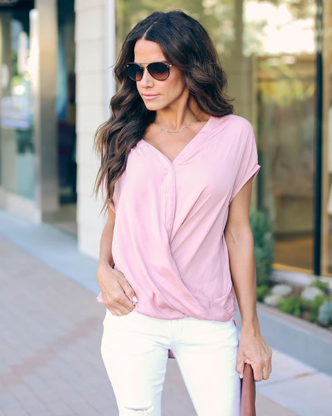 Au Revoir Satin Drape Blouse - Dusty Rose - FINAL SALE