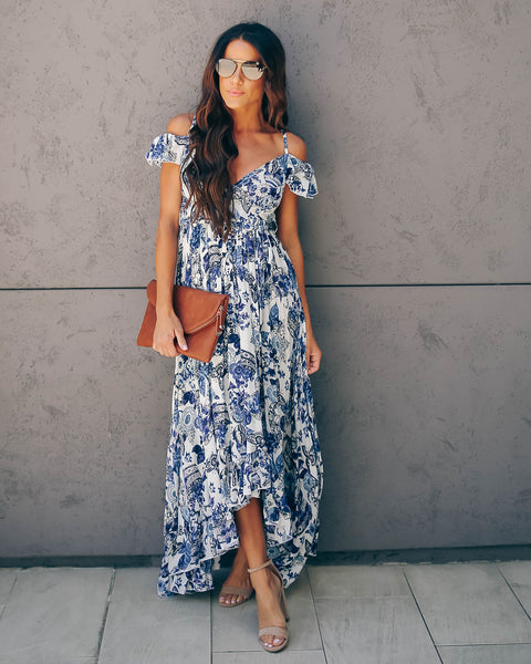 Butterfly Effect Floral Ruffle High Low Maxi Dress